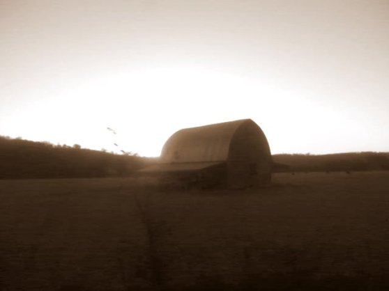 MissouriArkansas barn at sunsetSEPIA